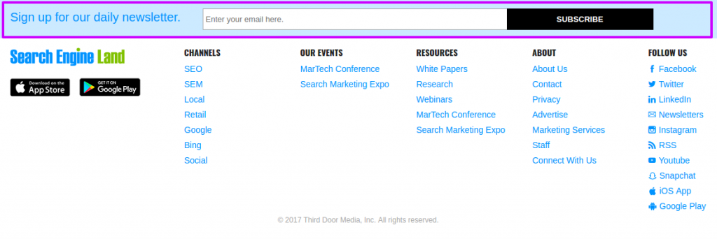 Search Engine land uses it at the footer